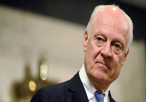 United Nations Special Envoy for Syria Staffan de Mistura looks on during a news conference in Damascus