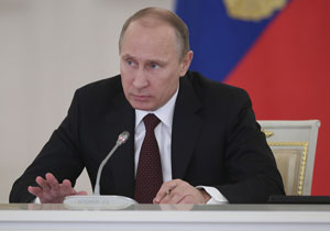Russian President Putin takes part in a meeting on social and economic development in Moscow's Kremlin