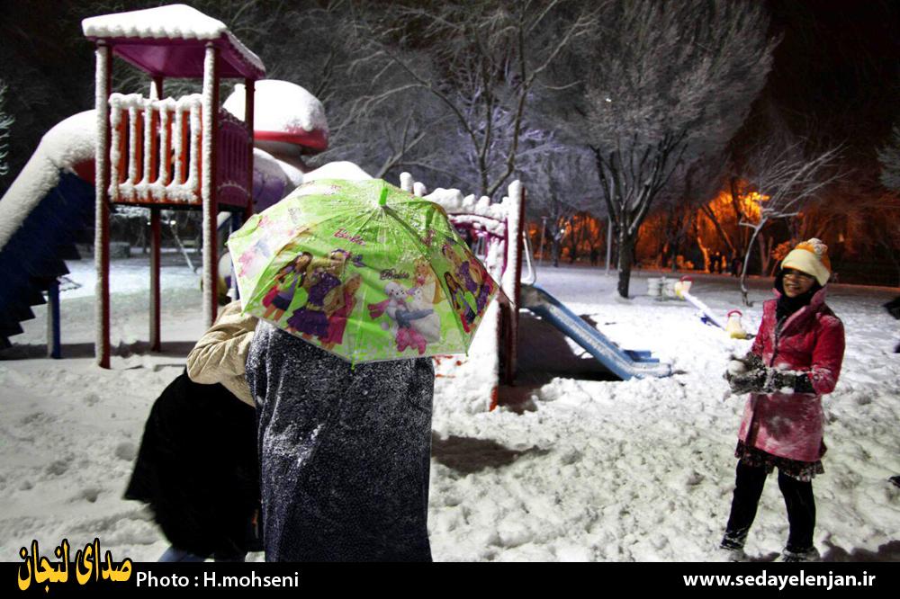 بارش شدید برف در لنجان